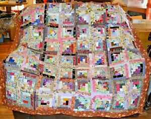 "QUILT TOP-SCRAPPY Log Cabins in a Multitude of Colors of 1 1/2"" Strips, 58"" Sq."