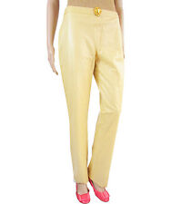VERSACE NEW Vtg Lux Ivory Faux Leather Fashion Collector Trousers sz IT 30 AT38