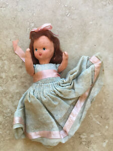 "VTG Nancy Ann Composition Doll 5.5"" Jointed Arms Frozen Legs Red Hair"