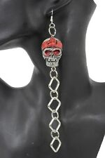 Women Long Silver Metal Chains Fashion Red Skeleton Pirate Skull Earrings Set