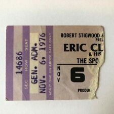 1976~ERIC CLAPTON~NO REASON TO CRY~CONCERT TICKET STUB~HOLLYWOOD, FL