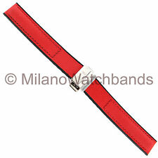 16mm Hirsch Corvette Buckle Red Kevlar with Genuine Leather Backing Watch Band