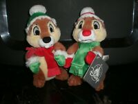 """Disney Parks Chip and Dale Holiday Christmas 8"""" Tall Plush Set Soft and Adorable"""