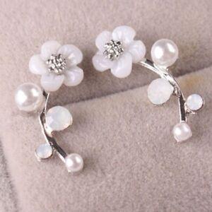 Elegant Flower 925 Silver Stud Earrings Women White Sapphire Jewelry A Pair/set