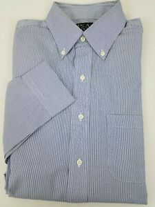 Jos A Bank Traveler Dress Shirt 15.5 / 35 Blue White Stripe Slim Fit Button Up