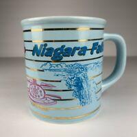 Niagara Falls Coffee Mug Cup Blue Gold Foil Striped Canada VTG