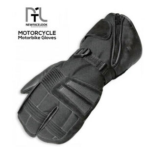 Mens Black Textile Waterproof Thermal Winter Motorcycle Motorbike Cordura Gloves
