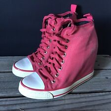 DKNY Pink Canvas Sneaker Wedge 6/36 Preowned Womens Shoes
