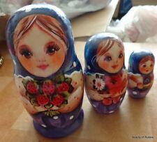 Superb Three girls strawberry Russian Nesting Doll 3 Pcs Large 4.2* #5s