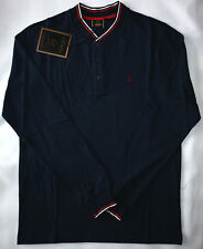 MERC MENS TWIN TIPPED HENLY PIQUE POLO IN NAVY SIZE M NWT