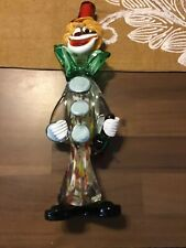 Murano Glass Clown Holding Wine Bottle Measuring 15 Inches Tall