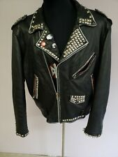 Vintage Men Wilsons Leather Jacket Punk Protest Anti-Flag Studded XXL thinsulate