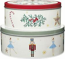 KitchenCraft The Nutcracker Collection Christmas Cake Storage Tins, Stainless St