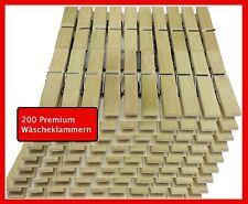 200 Wäscheklammern aus Bambus Holz Premium Holzwäscheklammer 6cm Holzklammern
