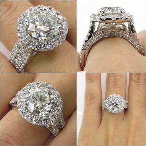 Elegant Women Luxury Rings Crystal Wedding White Sapphire Bridal Jewelry Size 9
