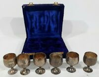 Vintage Rare Brass Goblets Miniature Shot Glass Set Of 6 Made In India In Case