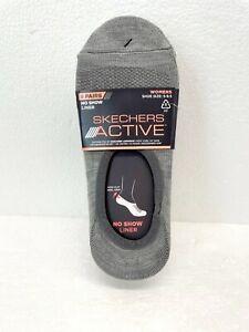 8 Pairs Skechers Active Women's No Show Liner Socks Non-Slip Heel Grip Comfort