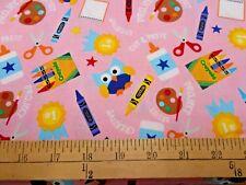 1 yard Riley Blake Crayola Colorfully Creative Owls Pink  Fabric