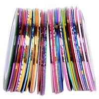 30 Pcs Multicolor Mixed Colors Rolls Ribbon Interlacing Line Nail Art Decor C9Q3