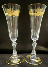 More details for 2 x cut crystal & gold champagne flute glass - signed st louis france