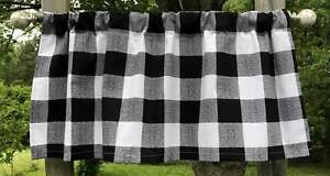 Black & White 2 3/4 Inch Buffalo Check Plaid Farmhouse Curtain Valance OR Sham