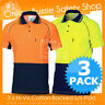 3 X HI VIS AIR FLOW SAFETY POLYESTER OUTER COTTON BACKED POLO WORK WEAR SHIRT