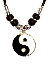 NEW Ying Yang Silver Tone Round Pendant Black Rope Necklace Yin USA SELLER