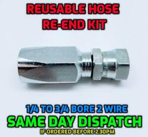 BSP Female Hydraulic Reusable Hose Fitting/Insert Re-End Set R2T - 2SN - 2 Wire