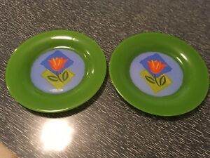 Two Arcoroc Matys Green Dessert Plates