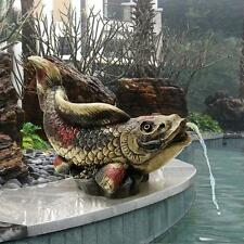 Asian Grace Symbol Spitting Showa Koi Piped Statue Fish Pond Spitter Sculpture