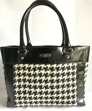 Kate Spade Quinn Henley Handbag Houndstooth Black Purse Patent Leather Tote