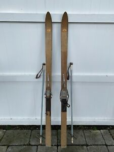 """Antique Wooden Skis 150cm Authentic Dovre Bindings Wood  Poles 40"""" Sno-wing Ski"""