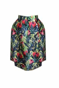 Skirt Green Floral Poly Silk Retro Rockabilly Style Size 16