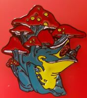 Psychedelic Pin Tripping Mushroom Frog Enamel Retro Metal Brooch Badge Lapel