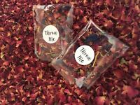 DRIED RED ROSE PETAL FLOWERS WILL FILL 50 CONFETTI THROWS PACKETS - USE BY 2022