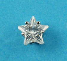 New Mens Sterling Silver Star CZ 7mm Stud Earring 925 Hallmarked