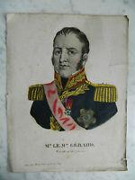 ancienne gravure couleur du XIXe portrait Maréchal Gérard Maurice Etienne