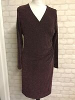 red herring Metallic Pink Sparkly V-neck Wrap  Dress Size 14