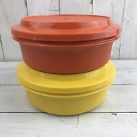 Vtg Tupperware Bowls 1253 With matching 1207 lids Orange Yellow Seal And Store