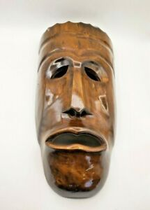 Vintage Wooden Hand Carved Traditional Wall Hang Mask