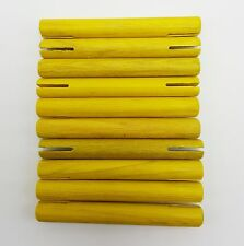 Tinkertoy Replacement Parts 10 Yellow Wooden Rods Sticks Slotted Ends 3 inch