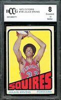 1972-73 Topps #195 Julius Erving Rookie Card BGS BCCG 8 Excellent+