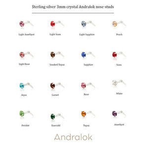 Sterling silver 3mm crystal Andralok nose studs / nosestud / 17 colours