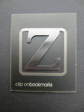 BOOKMARK Letter Initial Z Alphabet Steel Clip On Gift Present Birthday Thankyou