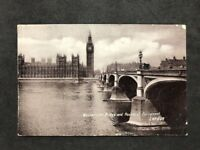 Vintage Real Photo Postcard: Houses Of Parliament & Westminster Bridge  #TP1797