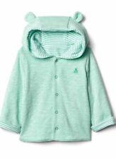 NWT GAP Baby Newborn Blue Striped Bear Hoodie Sweater Cardigan reversable