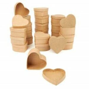 Factory Direct Craft Bulk Small Heart Paper Mache Boxes | Package of 144 Pieces