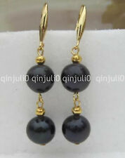 14K yellow gold 9-10mm round natural black pearl dangle earrings JE144