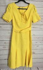 MUXXN Womens Yellow Retro Mermaid Dress Short Sleeve Stretchy Fit Flare Size M
