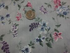 """1723. LIGHT BLUE FLORAL Soft Cotton Apparel or Craft Fabric - 43"""" x 7/8+ Yd."""